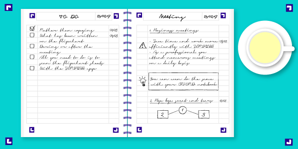 illustration of a notebook with SCRIBZEE scan